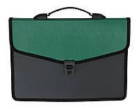 Портфель Buromax 32,5x24x3,5см 3 отд. пластиковый замок черный зеленый BM.3734-04