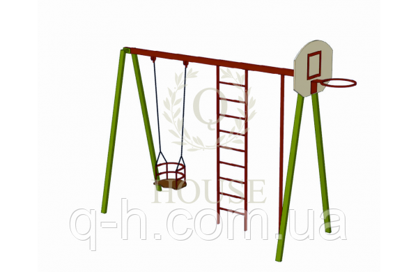 Комплекс гимнастический с баскетбольным щитом и качелей на цепях, фото 2