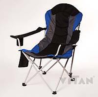 Кресло удобное тканевое раскладное сине черное садовое