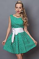 Летнее платье в горохи с широким поясом, расцветки разные