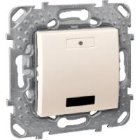 Выключатель кнопочный. 2 кнопки с синими индикаторами и ИК приемником. Слоновая кость Unica
