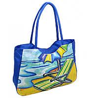 Сумка Женская Пляжная текстиль 1328 blue  купить дёшево в розницу