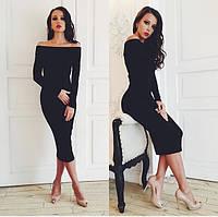 Женское Красивое платье миди черное
