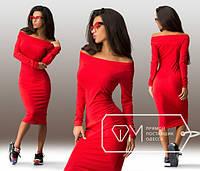 Женское Красивое платье миди красное