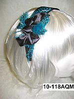 """Широкий обруч на голову для волос """"Бантик"""" с натуральными перьями бирюзового цвета"""
