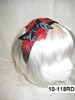 """Широкий обруч на голову для волос """"Бантик"""" с красными перьями"""