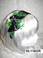 """Широкий обруч на голову для волос """"Бантик"""" с зелеными перьями"""