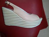 Розовые кожаные босоножки на  платформе от ТМ RoMax., фото 1
