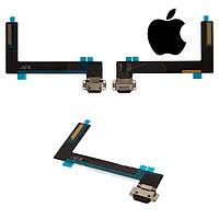 Шлейф для Apple iPad Air 2, коннектора зарядки, с компонентами, черный, оригинал