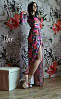 Женское Красивое платье в пол цветы1