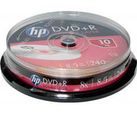 DVD+R диск для видео Hewlett-Packard 8.5GB DL Cake box 10