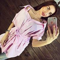Женская полосатая розовая туника DB-1079