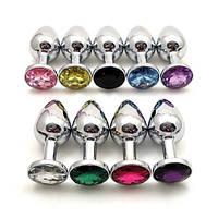 Секс игрушка анальная пробка с кристаллом металлическая цветной кристалл Jewelry Silver