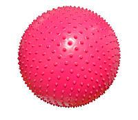 Мяч для фитнеса (с массажными шипами.). Диаметр 65 см. розовый.