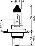 Лампа Н4 Р43 12V 60/55W OSRAM блистер 1шт.