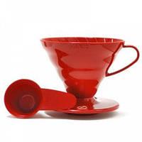 Пуровер пластиковый Hario V60 01 Красный | для фильтр кофе