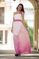 Выпускное малиновое платье с шифоновой юбкой