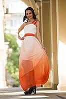 Выпускное оранжевое  платье с шифоновой юбкой