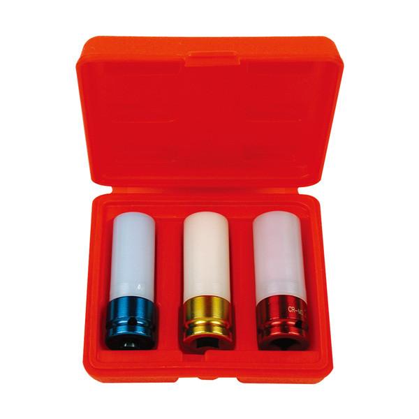 """Набор головок 1/2"""" c пластмассовой вставкой, (17, 19,21 мм) 3 предмета AmPro"""