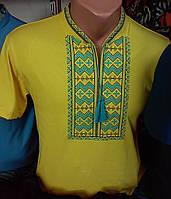 Мужская вышитая футболка с голубым орнаментом