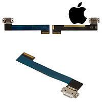 Шлейф для Apple iPad Mini 4, коннектора зарядки, с компонентами, белый (оригинал)