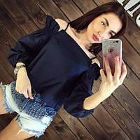 Женская блуза коттон синяя DB-1116