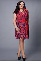 Повседневное платье с красным поясом