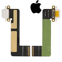 Шлейф для Apple iPad Mini, коннектора зарядки, с компонентами, белый (оригинал)