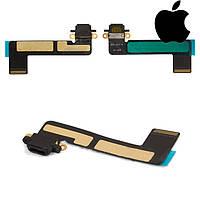 Шлейф для Apple iPad Mini, коннектора зарядки, с компонентами, черный, оригинал