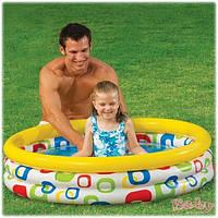Детский надувной бассейн Intex 59419 «Геометрические фигуры» 114*25см, детский бассейн intex, бассейн для дачи