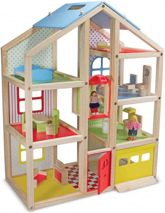 Кукольный домик деревянный с подъемником,мебелью и куклами