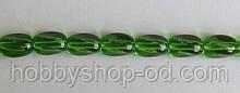 Намистина Овал кручений колір зелений 8*11 мм