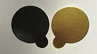 Подложка  круг с держателем (золото/черное) d9 (код 04911)