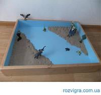 Юнгианская песочница с крышкой для мокрого песка (дерево)