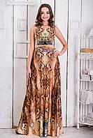 Нарядное коричневое платье с змеиным принтом