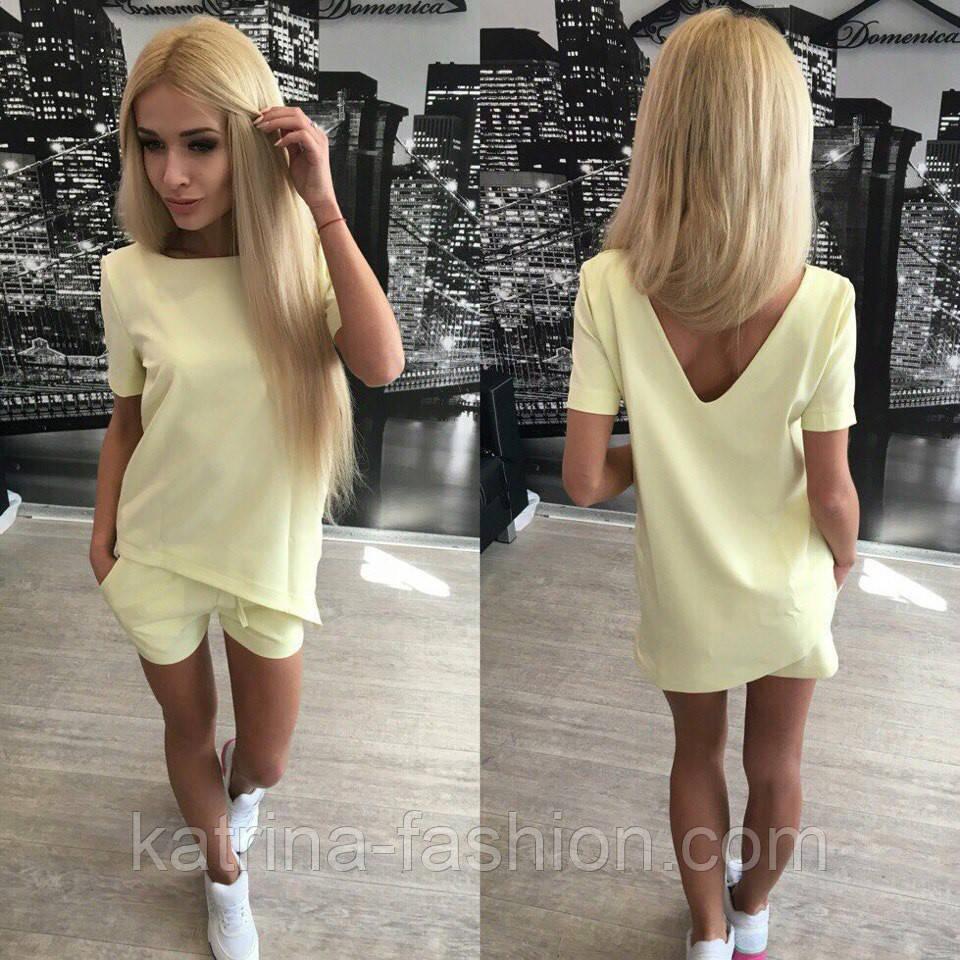 0149d1c023c4f Женский стильный летний костюм: шорты и асимметричная футболка (4 цвета) +  (Большие