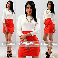 Двухцветное деловое платье