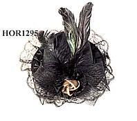 Черная шляпка с бантом