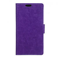 Чехол книжка для Lenovo Vibe S1 боковой с отсеком для визиток, Гладкая кожа, Фиолетовый