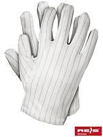 Защитные перчатки изготовлены из белого стилона в черную полоску RSTYLON WS