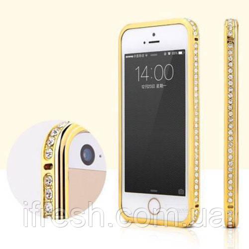 Бампер с камнями SWAROVSKI для iPhone 5/5s, gold