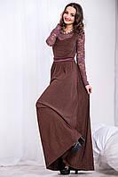 Шоколадное нарядное платье в пол