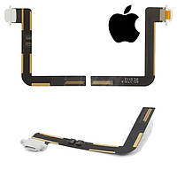 Шлейф для iPad 5 Air, коннектора зарядки, с компонентами, белый, оригинал