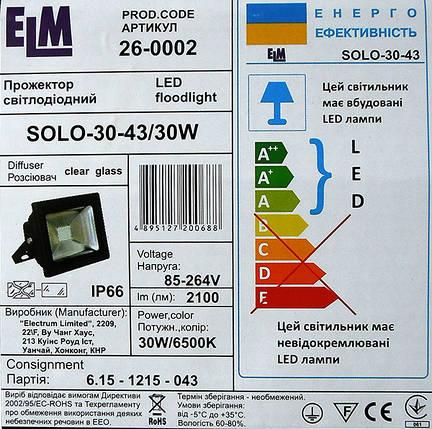 Светодиодный прожектор SOLO-30-43 30W, фото 2