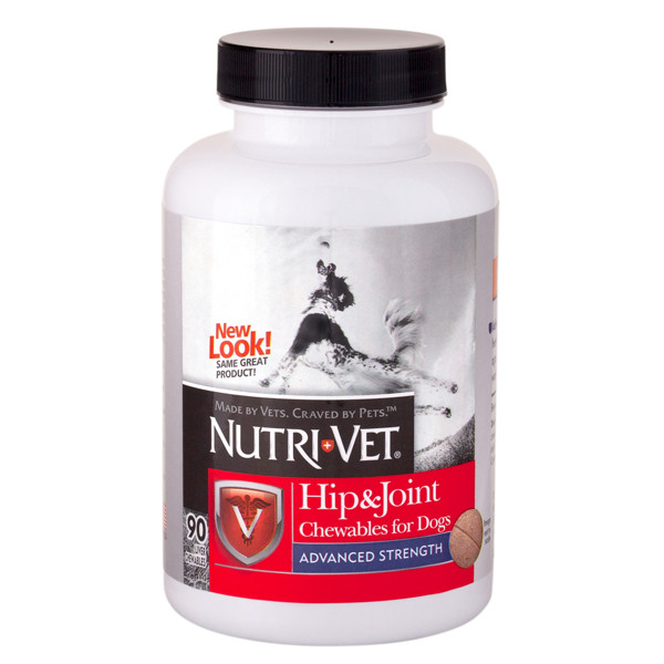 Nutri-Vet Hip&Joint Advanced НУТРИ-ВЕТ СВЯЗКИ И СУСТАВЫ АДВАНСИД, 3 уровень, глюкозамин и хондроитиндля собак, с МСМ, 90 табл.
