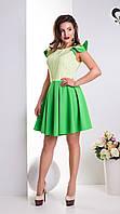 Летнее Расклешенное Платье Салатовое с Рукавами-Крылышками XS-XL