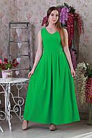 Яркое летнее длинное однотонное платье в расцветках