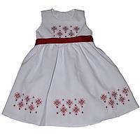 Детское платье для девочки с красной вышивкой в этностиле (ТМ Деньчик) на 6, 7, 8, 9 лет