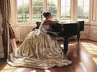 Алмазная вышивка Девушка у рояля KLN 40 х 30 см (арт. FS151) полное заполнение