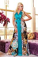 Платье женское из шифона принт цветы